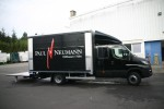 Towing the Weinhaus Neumann concessions trailer with sliding tarp system and hydraulic lift