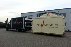 Towing the Weinhaus Neumann mobile wine catering van Sabrina